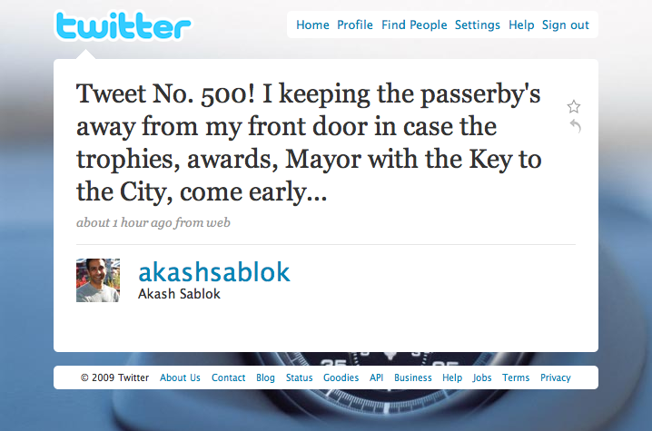 @akashsablok Tweet #500 - Key to the City