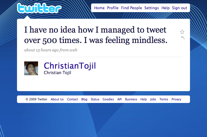 @ChristianTojil Tweet #500 - Twitter Explained